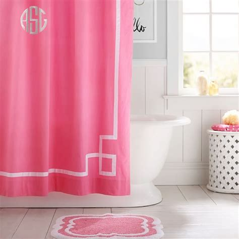 pink shower curtains ribbon trim shower curtain bright pink pbteen