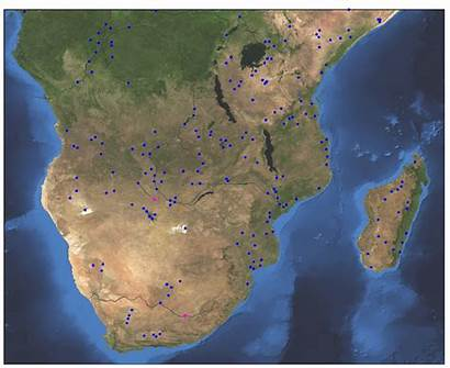 Africa Southern Map Satellite River Return Global