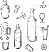 Wine Alcohol Bottles Drinks Cocktails Vector Sketch Whiskey Beer Bottle Liquor Illustration Colouring Drink Coloring Pages Template Sketches Lemons Corkscrew sketch template