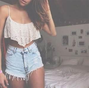 Tank top shorts blouse crop tops white floral shirt high waisted shorts crop tops ...
