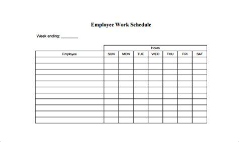 employee lunch schedule template printable schedule template