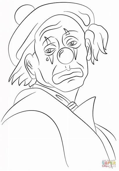 Clown Triste Coloring Sad Kleurplaat Dibujos Killer