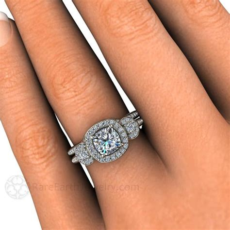 cushion forever one moissanite halo wedding gold or platinum rare earth jewelry