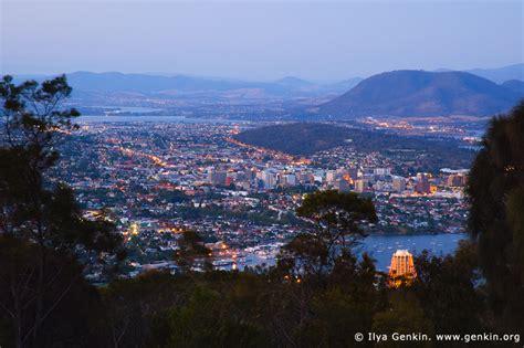 Hobart At Dusk From Mount Nelson Photos, Tasmania (tas