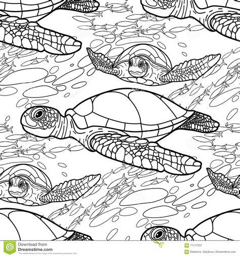 hawksbill sea turtle pattern stock vector image