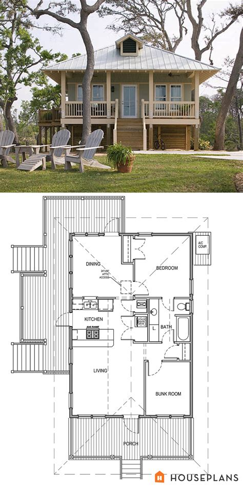 coastal cottage house plan and elevation 900 sft 2 bedroom
