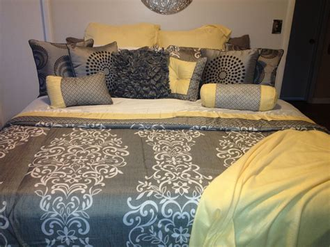 yellow  gray bedding home bedroom decor