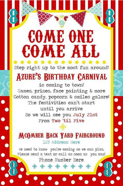 carnival invitation simplycumorah carnival the