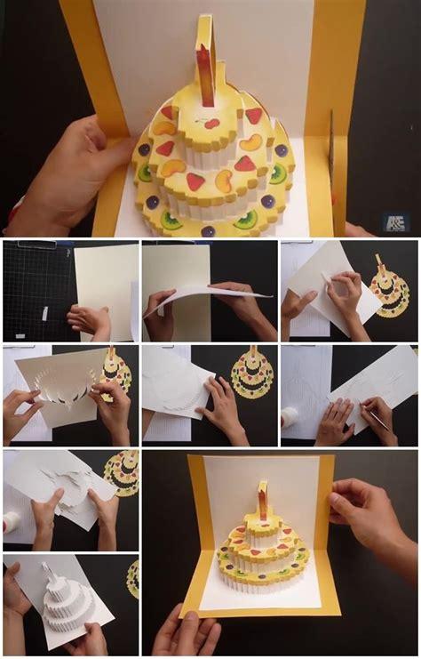 birthday cake kirigami pop  card usefuldiycom