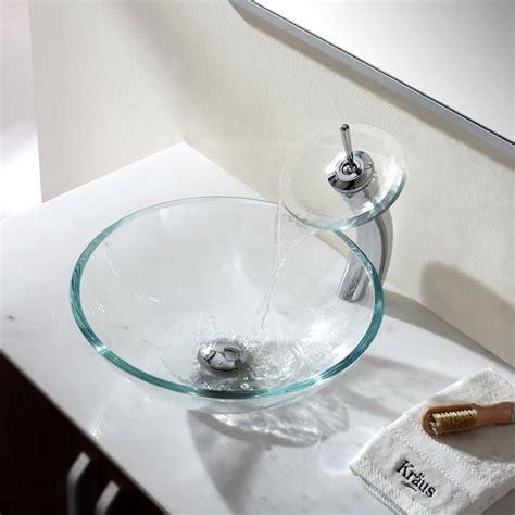 bathroom sink glass kraus cgv10012mm10ch 16 1 2 inch clear glass 11337