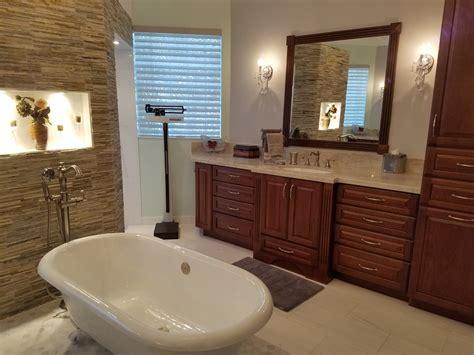 master bathroom remodel featuring amaretto cabinets
