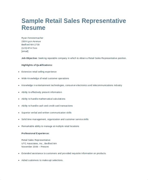 Retail Sales Representative Resume by Sle Sales Representative Resume 6 Exles In Word Pdf