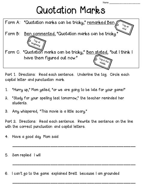 quotation marks worksheet freebie check the post to