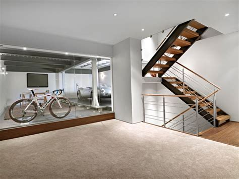 Lower Garage and Stairs   Contemporary   Basement