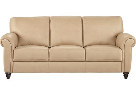 cindy crawford home lusso taupe leather sofa leather