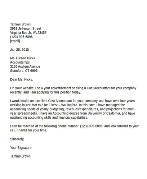 job application letter templates  accountant word