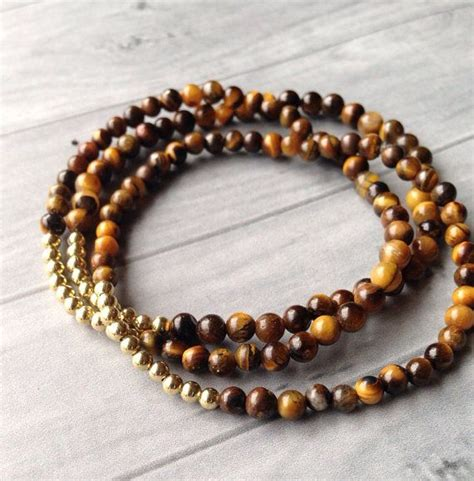 Tigers Eye Bracelets Brown Gold Beads Stackable