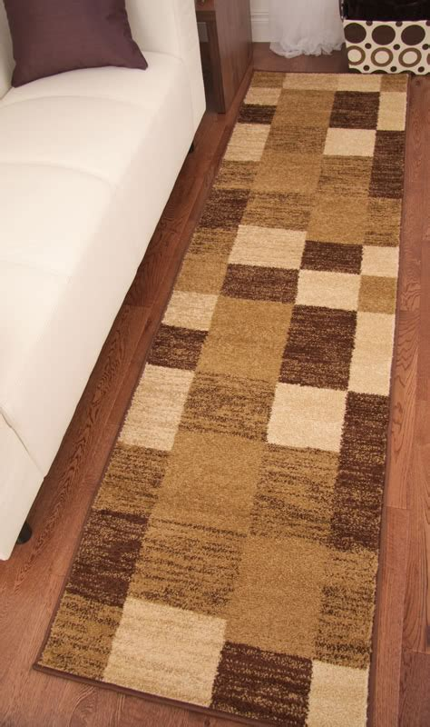 Toledo Brown Chocolate Beige Modern Squares Long Hall