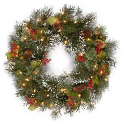 2ft pre lit wintry pine artificial christmas wreath hayes garden world