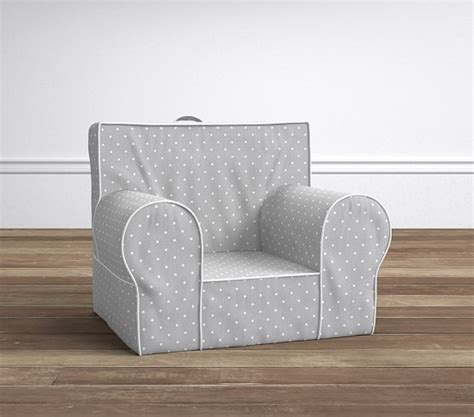 gray pin dot anywhere chair slipcover only pottery barn