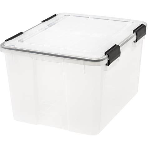 weathertight storage tote iris 46 qt weathertight storage box in clear 6 pack 3371