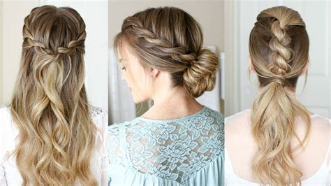3 easy rope braid hairstyles sue youtube