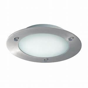 Bs modern flush fitting brushed steel ceiling light