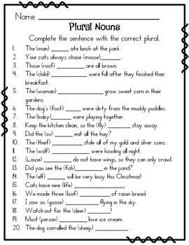 irregular plural nouns by rock paper scissors teachers pay teachers