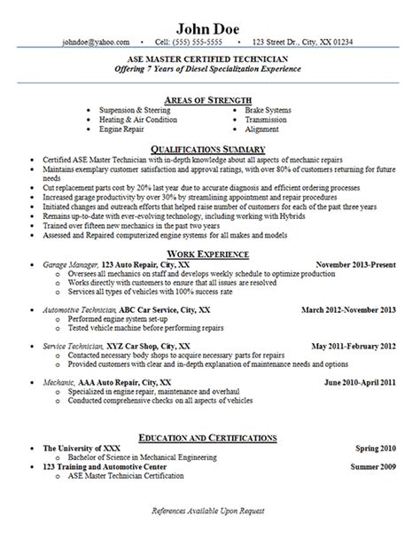 automotive technician resume exles auto mechanic