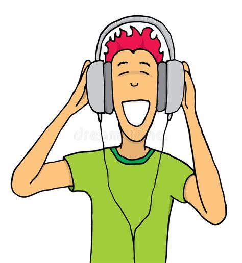 Guy Listening Music On Huge Headphones Stock Vector Illustration Of Smile Enjoy