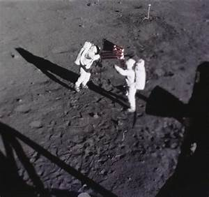 Neil Armstrong Putting the Flag On the Moon - Pics about space