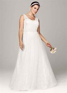 oleg cassini a line lace tank wedding dress with beaded With tank wedding dress