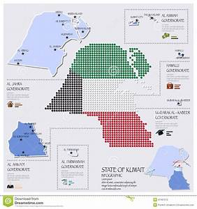 Dot And Flag Map Of State Of Kuwait Infographic Stock ...