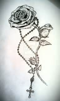 Rose and Rosary Tattoo Designs