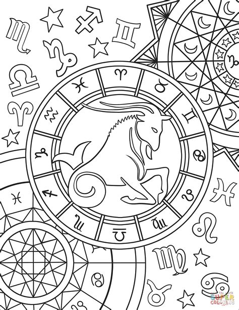 constellation of capricorn worksheet capricorn zodiac sign coloring page free printable