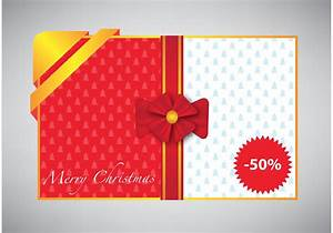 Merry Christmas card with gift ribbon - Download Free ...