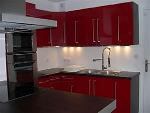 cuisine rouge et noir ikea solutions pour la decoration With idee deco cuisine avec cuisine rouge et noir