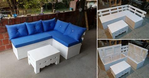 DIY Pallet Sofa with Storage   Home Design, Garden