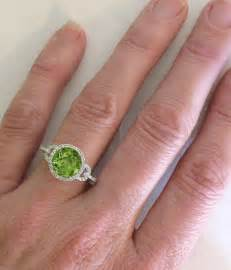 peridot wedding rings peridot ring in 14k white gold with a halo design gr 3095