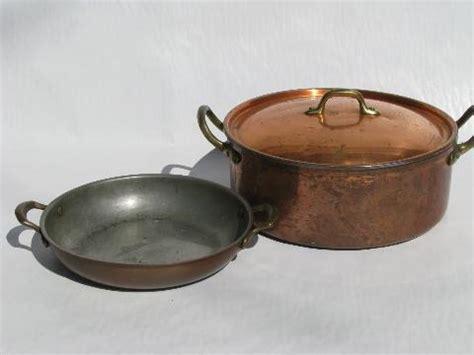 lot  vintage solid copper brass kitchen pots pans