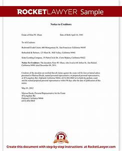 letter to creditors notice to creditors form bankruptcy With template letters to creditors