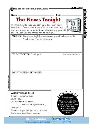 Can you remember the features of a newspaper report? The News Tonight - planning a news report - FREE Primary KS2 teaching resource - Scholastic