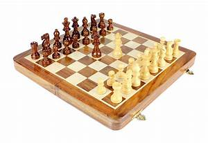 Wooden Chess Set Travel Magnetic Folding Golden Rosewood