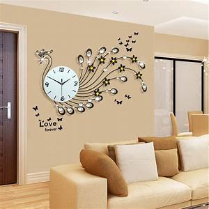 Large peacock wall clock modern design living room