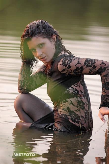 wetlook  curly girl  sexy black dress stockings  high heels   lake wetlookone