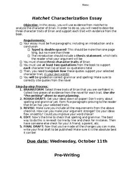 Hatchet Essay by Characterization Essay For Hatchet By With Miss K