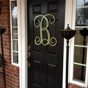 monogram wreath spring door decor large from With large monogram letters for front door