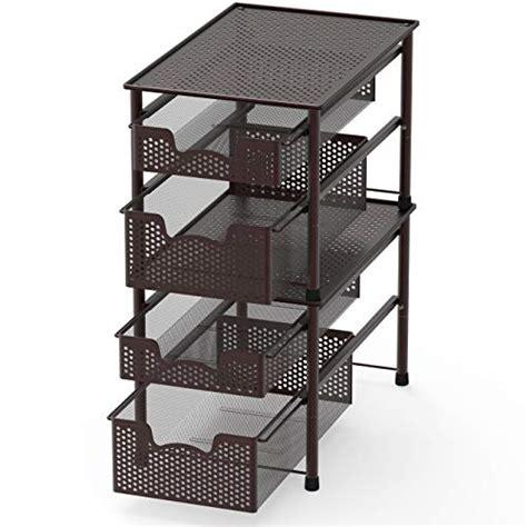 simple houseware stackable  tier sliding basket organizer