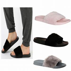 Womens Ladies Slip On Sliders Fur Slipper Rihanna Rubber ...