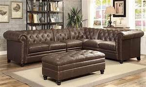 Roy brown leather traditional sectional with tufted rolled for Coaster sectional sofa with button tufted design brown microfiber